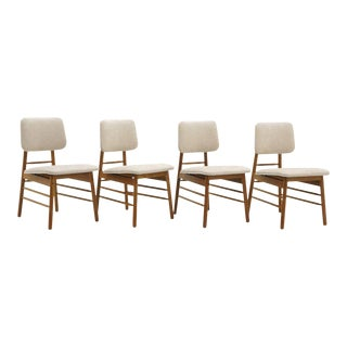 Set of Four Dining Chairs by Greta Grossman, New Knoll Upholstery, Excellent For Sale