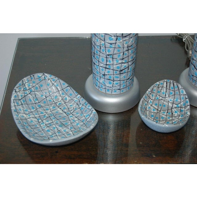 Marbro Italian Ceramic Table Lamps and Bowls Blue For Sale In Little Rock - Image 6 of 12