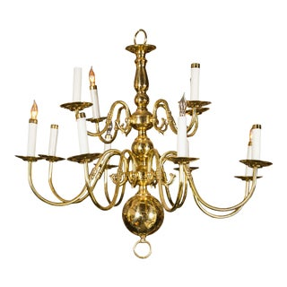 Twelve Light Brass Ball Form Chandelier