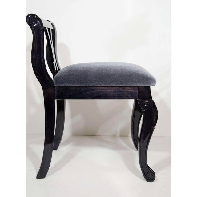 Pair of Luxe Art Deco Side Chairs in Mohair and Ebony Walnut For Sale In New York - Image 6 of 10