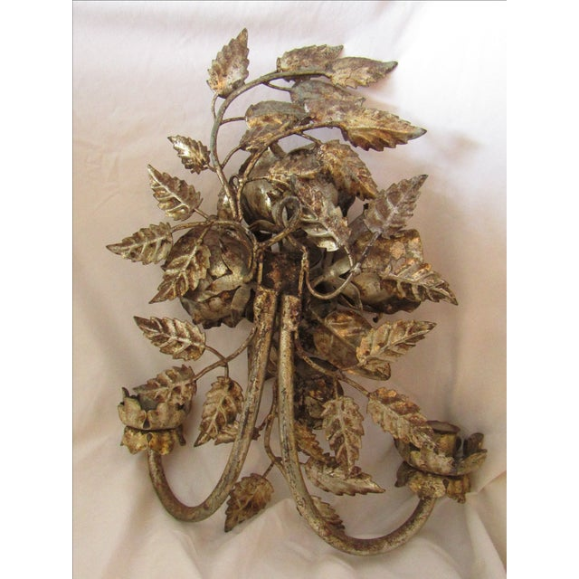 Antique Florentine Gilted Metal Candle Sconce - Image 5 of 5