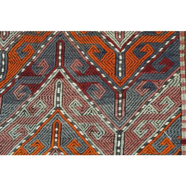 Burnt Orange Vintage Turkish Kilim Rug For Sale - Image 8 of 13