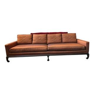 Vintage Orange Dupioni Upholstered, Down Filled, Ming Style Sofa