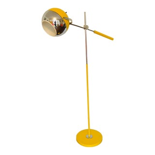 1970s Space Age Modern Yellow Orb Floor Lamp For Sale