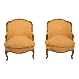 1950s Vintage Auffray French Louis XV Style Walnut Bergere Chairs - a Pair