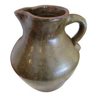 Antique 1800s New England Redware Pottery Hand Thrown Tavern Pitcher For Sale