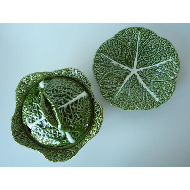 1980s Vintage Majolica Green Cabbage Soup Tureen & Underplate For Sale - Image 5 of 9