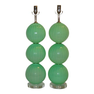 Joe Cariati Green Hand Blown Lamps For Sale