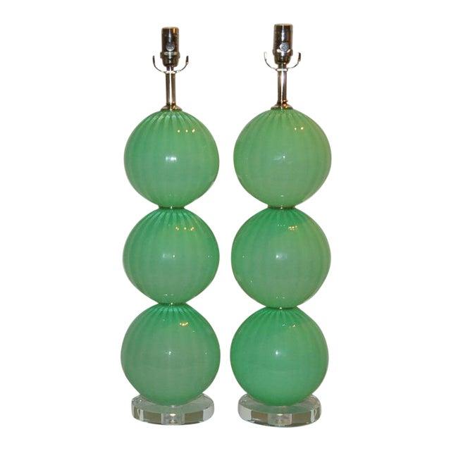 Joe Cariati Green Hand Blown Lamps For Sale