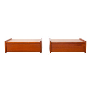 Vintage Danish Modern Teak Floating Night Stands - a Pair C. 1960s