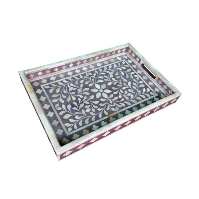 Gray Floral Bone Inlay Serving Tray - Image 3 of 3