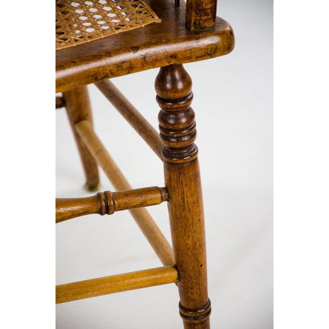 Brown Late 19th Century American Windsor Style Barrel Back Oak and Caned Side Chairs- A Pair For Sale - Image 8 of 13