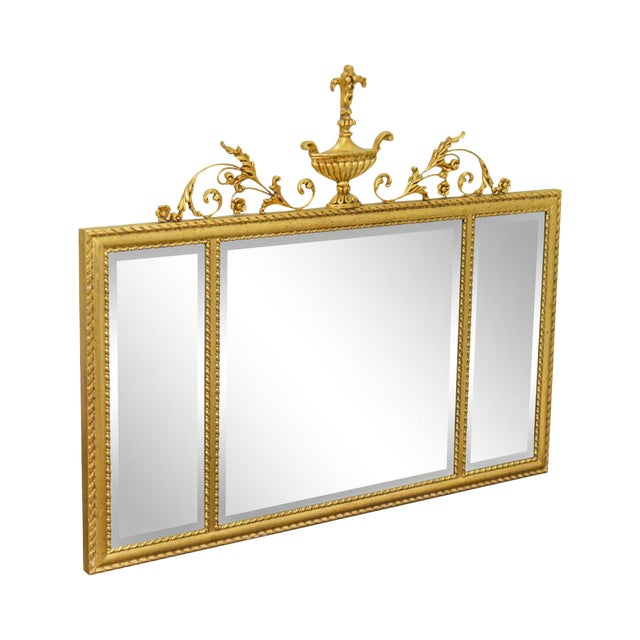 La Barge Neo-Classical Style Gilt 3 Section Beveled Mirror With Urn For Sale