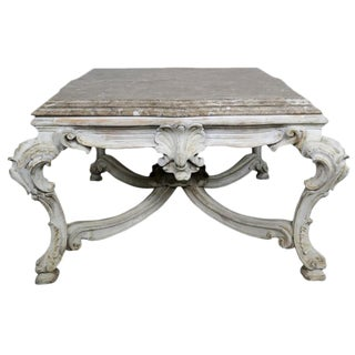 French Wood Coffee Table With Marble Top