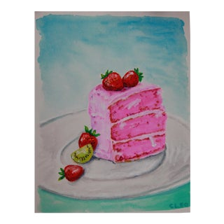 Dessert Cake Stlii Life Painting by Cleo For Sale
