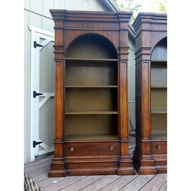 French Vintage Drexel 1968 Et Cetera French Style Aged Walnut Solid Wood Bookcases - a Pair For Sale - Image 3 of 13