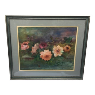 Original Abstract Floral Oil Painting on Canvas Board For Sale