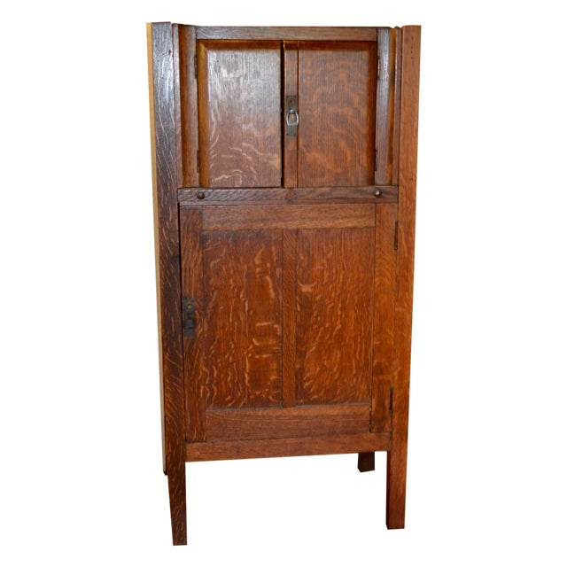 1925 Mission Oak Prohibition Era Liquor Cabinet For Sale