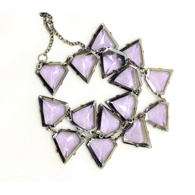 1930s Art Deco Triangular Faceted Purple Glass Necklace For Sale - Image 5 of 6