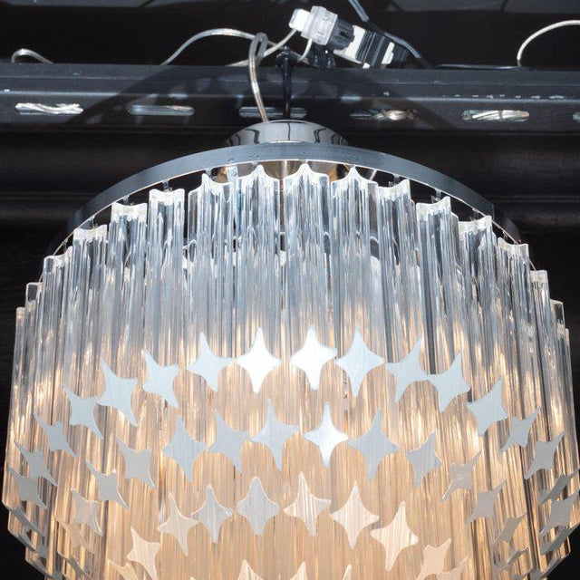 1970s Italian Mid-Century Modern Camer Chandelier With Chrome Detailing For Sale - Image 5 of 8