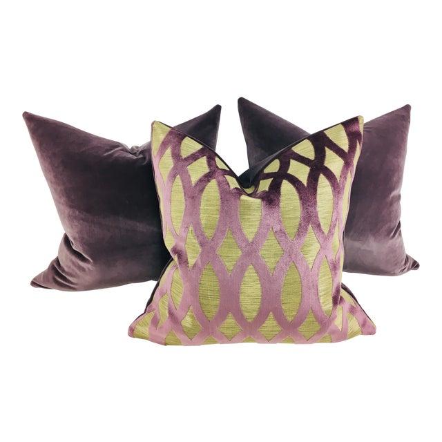 Purple Velvet Pillows – Set of 3 For Sale
