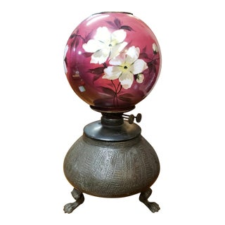 1870 English Victorian Brass Claw Foot Base Kerosene Lamp (Duplex Burner) For Sale
