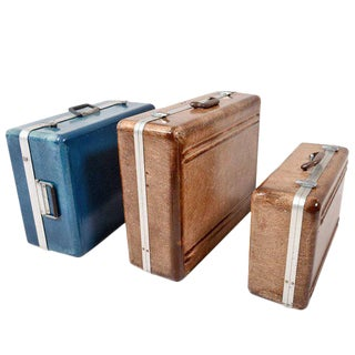 Set of Three Fiberglass Suitcases For Sale