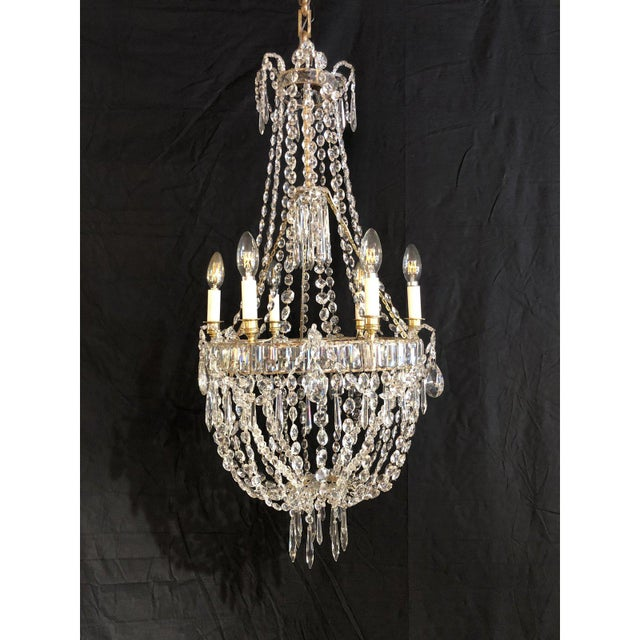 Mid 19th Century Louis XV Style Traveling Crystal Chandelier For Sale - Image 5 of 6