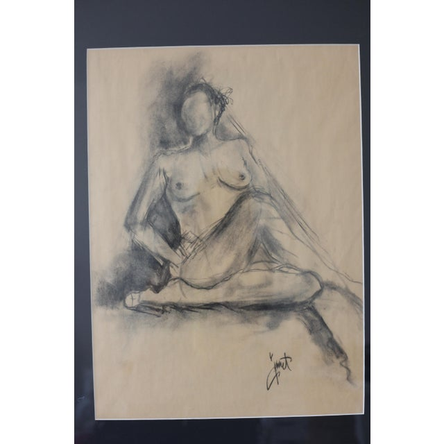 Framed Charcoal Drawing of Nude Woman - Image 5 of 5