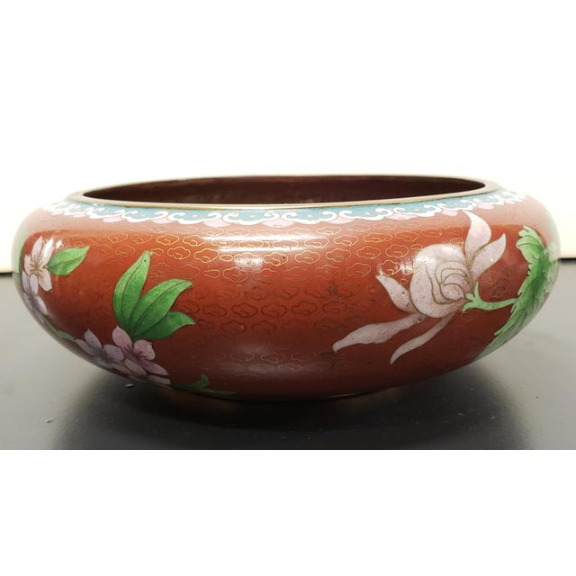 Circa 1970 Chinese Cloisonne and Brass Floral/Butterfly Motifs Brush Washer Bowl For Sale In New Orleans - Image 6 of 9