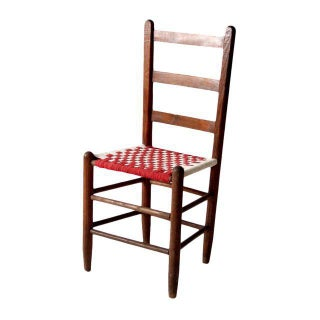 Antique Ladder Back Woven Seat Chair For Sale