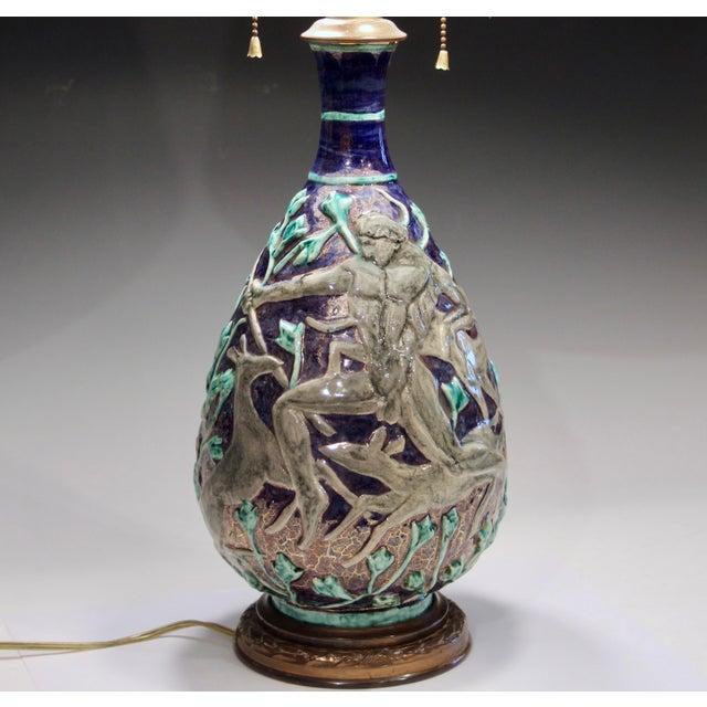 Art Deco Vintage 1920s Jean Mayodon French Art Deco Gilt Pottery Vase Lamp For Sale - Image 3 of 13