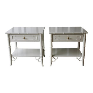 Professionally Lacquered Thomasville Faux Bamboo Chinoiserie Allegro Nightstands-A Pair For Sale