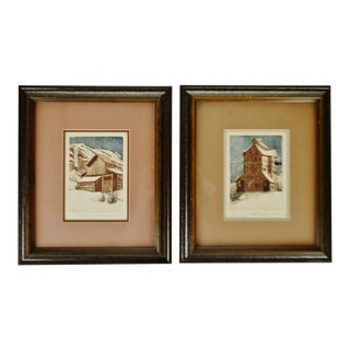 Vintage Framed Sue Tushingham McNary Signed Intaglio Etchings - Set of 2 For Sale