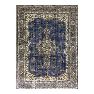 Navy and Cream Distressed Vintage Turkish Carpet | 8'7 X 11'9 For Sale