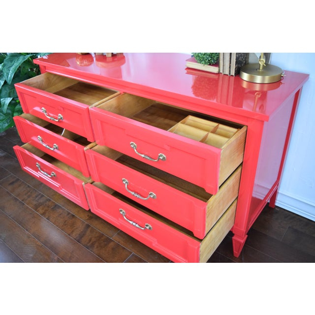 19th Century Thomasville Positive Red High Gloss Lacquer Dresser For Sale - Image 12 of 13