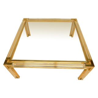 Square Mid-Century Brass, Lucite, and Glass Coffee Table For Sale