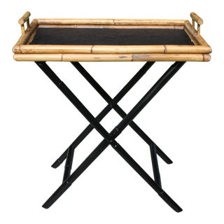 Vintage Bamboo and Grasscloth Tray Table For Sale