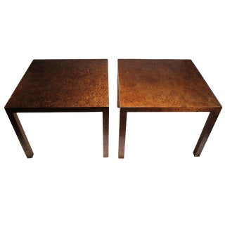 Vintage Pair of Oil Spot Finish Parsons End Tables by Heritage For Sale