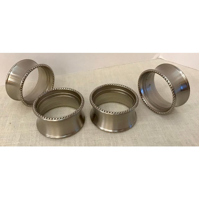 Metal Late 20th Century Vintage Stainless Steel Napkin Rings - Set of 4 For Sale - Image 7 of 7
