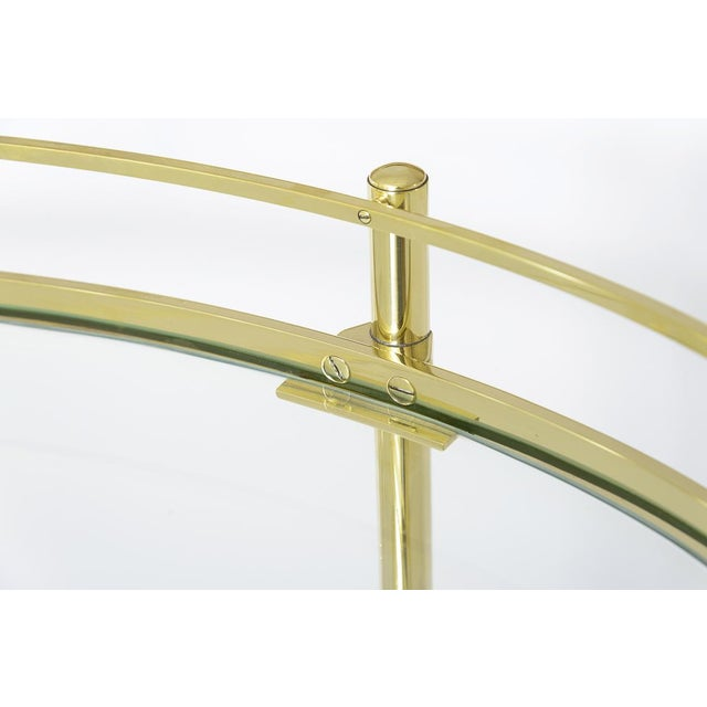 Gold Brass Three Tier Bar/Etagere Midcentury Signed Maxwell-Phillips Oval For Sale - Image 8 of 12