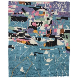 "Moroccan Style Modern Cubism and Abstract Design Rug - 10'9"" x 13'4"" For Sale"