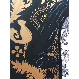 Woman in Black Lace Couture Backless Gown Painting Preview
