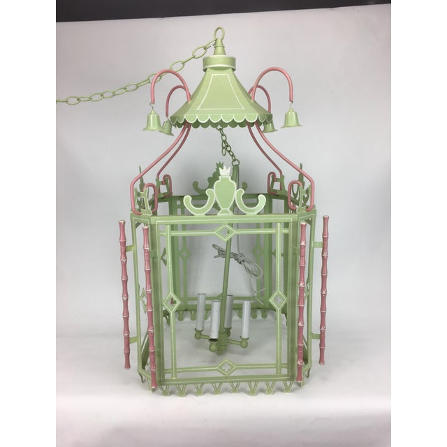 1970s 1970s Traditional Pagoda-Top Light Green Tole Lantern For Sale - Image 5 of 5