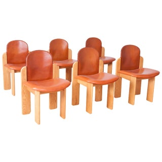 Set of 6 Silvio Coppola Dining Chairs in Ash & Cognac Leather
