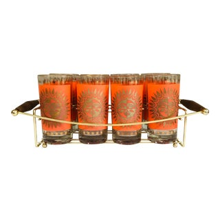 1950s Set of 8 Orange Gold Sunburst Aztec High Ball Glasses in Teak Brass Caddy For Sale