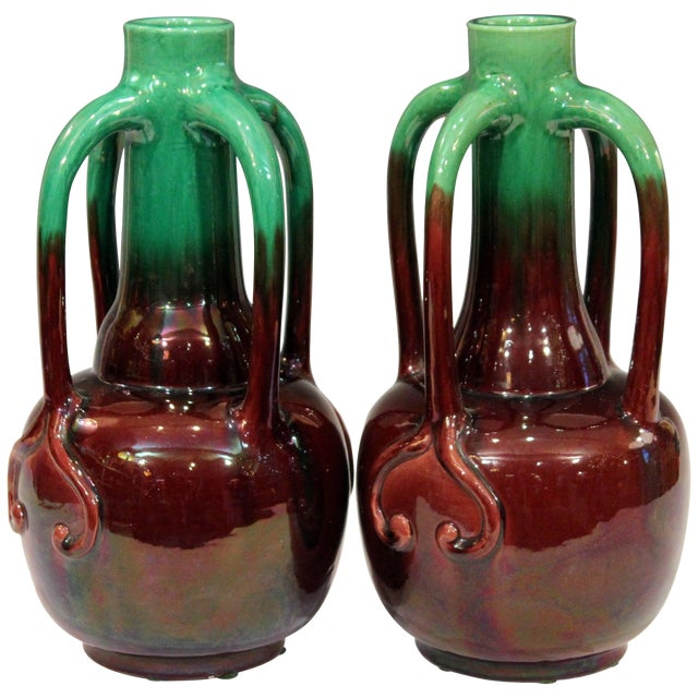 Pair of Art Nouveau Japanese Awaji Pottery Organic Gourd Form Tendril Vases For Sale