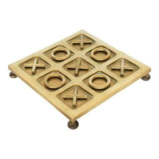 Mid Century Modern Solid Brass Tic Tac Toe Board