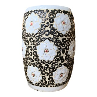 Black and White Geometric Floral Moroccan Style Ceramic Garden Stool For Sale