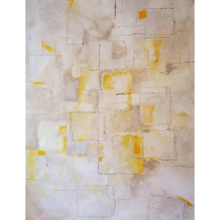 2018 Intangible Abstract Yellow, Gray, White Mixed-Media Painting on Canvas For Sale